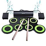 Batería Electrónica, Drum Set, bonrob Roll Up de batería Midi Drum Kit con auriculares y...